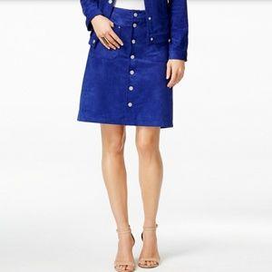 INC International Concepts blue suede skirt NWT 6